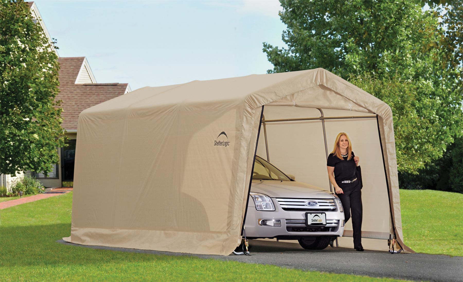 Replacement Covers Shelter Garage 120 240 : Autoshelter peak roof portable garage creative